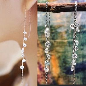 COPY - Sterling silver long zircon dangle earrings